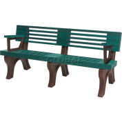Polly Products Elite 6 Ft. Backed Bench with Arms, Green Bench/Brown Frame