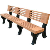 Polly Products Elite 8 Ft. Backed Bench, Cedar Bench/Brown Frame