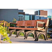 Polly Products Elite 8 Ft. Backed Bench with Arms, Cedar Bench/Black Frame