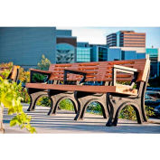 Polly Products Elite 8 Ft. Backed Bench with Arms, Brown Bench/Brown Frame