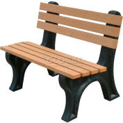 Polly Products Econo-Mizer 4 Ft. Backed Bench, Cedar Bench/Green Frame
