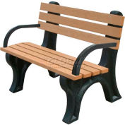 Polly Products Econo-Mizer 4 Ft. Backed Bench with Arms, Cedar Bench/Black Frame
