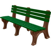 Polly Products Econo-Mizer 6 Ft. Backed Bench, Green Bench/Brown Frame