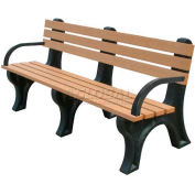 Polly Products Econo-Mizer 6 Ft. Backed Bench with Arms, Cedar Bench/Black Frame