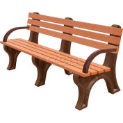 Polly Products Econo-Mizer 6 Ft. Backed Bench with Arms, Green Bench/Brown Frame