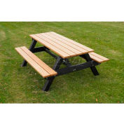 Polly Products Econo-Mizer Space Saver 6' Picnic Table, Weathered Top/Black Frame