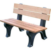 Polly Products Econo-Mizer Traditional 4 Ft. Backed Bench, Brown Bench/Black Frame