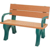 Polly Products Econo-Mizer Traditional 4 Ft. Backed Bench with Arms, Cedar Bench/Brown Frame