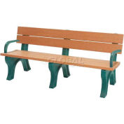 Polly Products Econo-Mizer Traditional 6 Ft. Backed Bench with Arms, Cedar Bench/Brown Frame