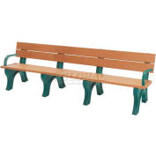 Polly Products Econo-Mizer Traditional 8 Ft. Backed Bench with Arms, Brown Bench/Brown Frame