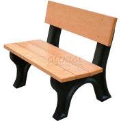 Polly Products Landmark 4 Ft. Backed Bench, Cedar Bench/Black Frame