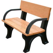 Polly Products Landmark 4 Ft. Backed Bench with Arms, Brown Bench/Brown Frame