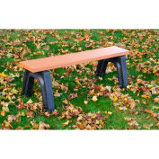Polly Products Landmark 4 Ft. Flat Bench, Cedar Bench/Green Frame