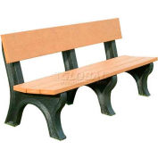 Polly Products Landmark 6 Ft. Backed Bench, Cedar Bench/Brown Frame