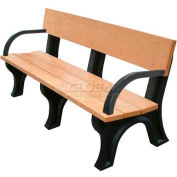 Polly Products Landmark 6 Ft. Backed Bench with Arms, Cedar Bench/Brown Frame