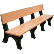 Polly Products Landmark 8 Ft. Backed Bench, Cedar Bench/Brown Frame