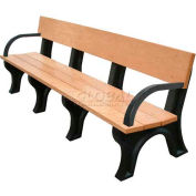 Polly Products Landmark 8 Ft. Backed Bench with Arms, Cedar Bench/Brown Frame