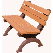 Polly Products Monarque 4 Ft. Backed Bench, Cedar Bench/Brown Frame