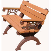 Polly Products Monarque 4 Ft. Backed Bench with Arms, Cedar Bench/Brown Frame