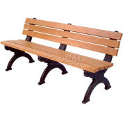 Polly Products Monarque 6 Ft. Backed Bench, Cedar Bench/Black Frame
