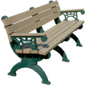 Polly Products Monarque 6 Ft. Backed Bench with Arms, Cedar Bench/Green Frame