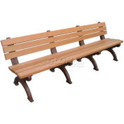 Polly Products Monarque 8 Ft. Backed Bench, Cedar Bench/Brown Frame