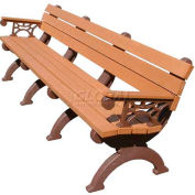 Polly Products Monarque 8 Ft. Backed Bench with Arms, Brown Bench/Brown Frame