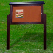 """Polly Products Medium Message Center - 2 Sided/2 Posts, Brown, 40""""W x 30""""H"""