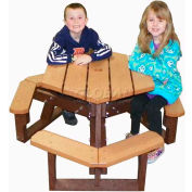 Polly Products Open Hexagon Youth Table, Gray Top/Brown Frame