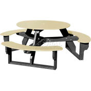 Polly Products Open Round Table, Tan Top/Black Frame