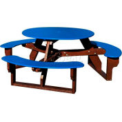 Polly Products Open Round Table, Blue Top/Brown Frame