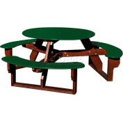 Polly Products Open Round Table, Green Top/Brown Frame
