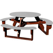 Polly Products Open Round Table, Gray Top/Brown Frame
