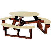 Polly Products Open Round Table, Tan Top/Brown Frame