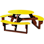 Polly Products Open Round Table, Yellow Top/Brown Frame