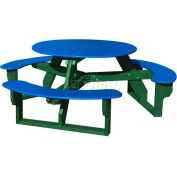 Polly Products Open Round Table, Blue Top/Green Frame