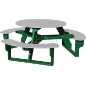 Polly Products Open Round Table, Gray Top/Green Frame