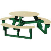 Polly Products Open Round Table, Tan Top/Green Frame