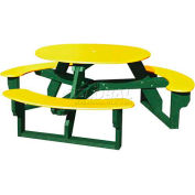 Polly Products Open Round Table, Yellow Top/Green Frame