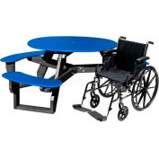 Polly Products Open Round Handicap Access Table, Blue Top/Black Frame