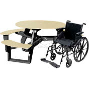Polly Products Open Round Handicap Access Table, Gray Top/Black Frame