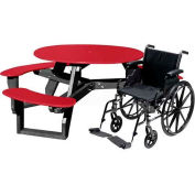 Polly Products Open Round Handicap Access Table, Red Top/Black Frame