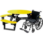 Polly Products Open Round Handicap Access Table, Yellow Top/Black Frame