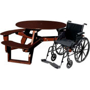 Polly Products Open Round Handicap Access Table, Brown Top/Brown Frame