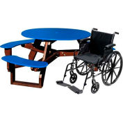 Polly Products Open Round Handicap Access Table, Blue Top/Brown Frame
