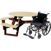 Polly Products Open Round Handicap Access Table, Gray Top/Brown Frame