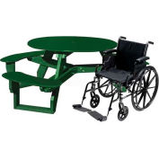 Polly Products Open Round Handicap Access Table, Brown Top/Green Frame