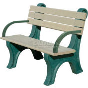Polly Products Park Classic 4 Ft. Backed Bench with Arms, Brown Bench/Brown Frame
