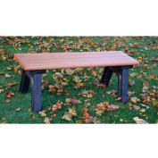Polly Products Park Classic 4 Ft. Flat Bench, Brown Bench/Black Frame