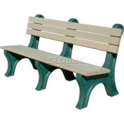 Polly Products Park Classic 6 Ft. Backed Bench, Brown Bench/Green Frame